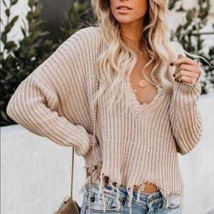 Frayed Tan Sweater